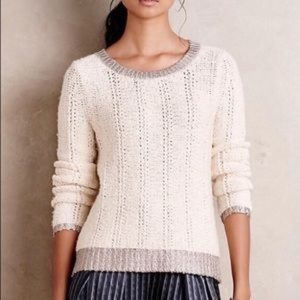 🍁Moth cream and silver chunky knit sweater